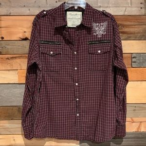 Point Zero Red Plaid Button Down Shirt Size L